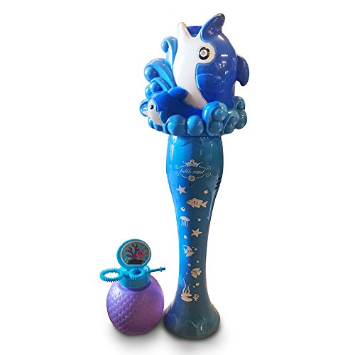 Shells Wand (LilPals' Sea Dolphin Foam Bubble Wand – Light Up, Ocean-Themed Bubble Makers– A Classic Gift for Children Made for Hours of Fun – Comes with Special Sea Shell Inspired Bubble Bottle (Blue))