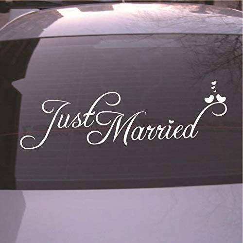 (Florenceenid Just Married Sign Wedding Day Car Sticker Decorations Window Banner Decal PVC)