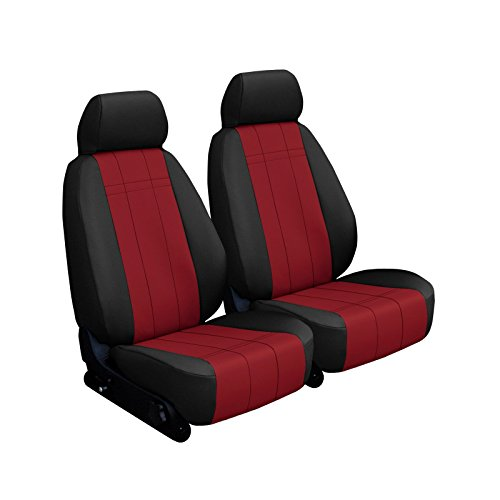 Front Seats: ShearComfort Custom Imitation Leather Seat Covers for Dodge Ram Pickup 1500 (2013-2018) in Black w/Red for Sport Buckets w/Adjustable Headrests (Laramie, Sport, Rebel, Night, or Li.