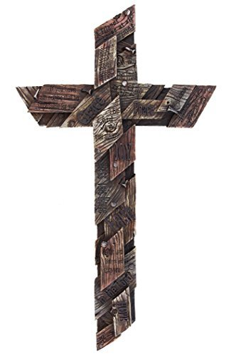 Colors of Rainbow Large Rustic Wall Cross with Inspirational Sayings, Realistic Wood Texture