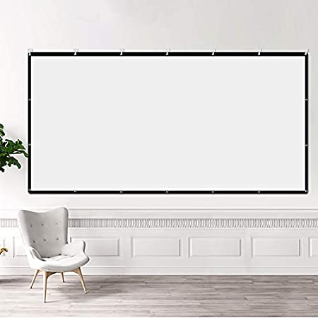 BT1 Projector Screen with Rope,Hook,Tape HD Projection Screen,12016:9 in//Outdoor Home Movie Theater,Widescreen Foldable Portable,Easy to Clean,for Office Presentation,can Double-Sided Play