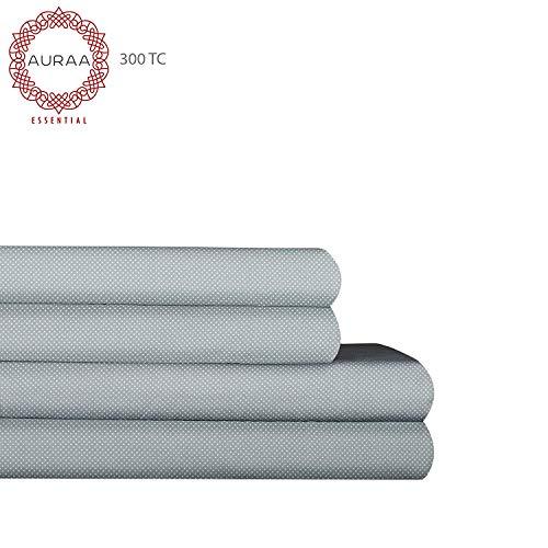 AURAA Essential 300 Thread Count 100% Long Staple Printed Cotton Sheet Set - 4 Piece Set, Soft & Smooth Sateen Weave, Luxury Hotel Bedding,Oeko-TEX Certified (PIN DOT, Queen)