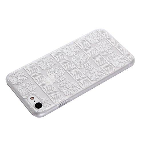 """MOONCASE iPhone 7 Plus Hülle, Ultra Slim Durchsichtig Transparente Hülle Mit weißem Muster Schutzhülle Handyhülle Tasche Schale Case für iPhone 7 Plus 5.5"""" - Clear 04"""