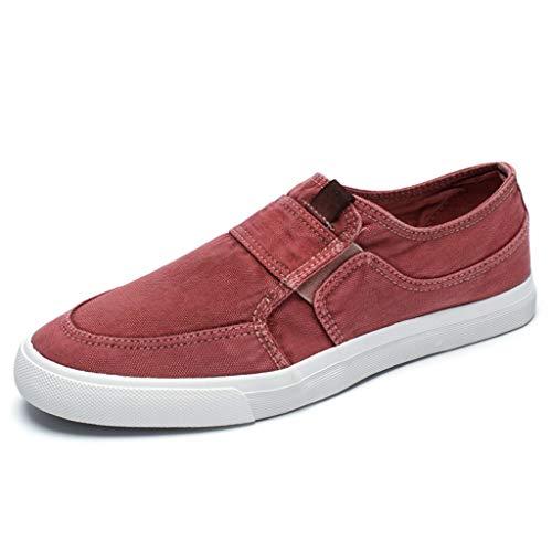 scarpe tendenza traspirante Red da casual 41 Red scarpe selvatici di Color estate uomo uomo scarpe Size tela tela di WangKuanHome Scarpe da bordo wXgq0tw