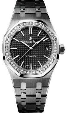Audemars Piguet Royal Oak Automatic Diamond Black Dial Stainless Steel Ladies Watch 15451ST.ZZ.1256ST.01