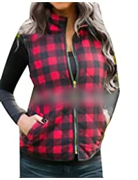 BU2H Womens Plaid Sleeveless Pockets Quilted Padded Zipper Vest Coat Outwear