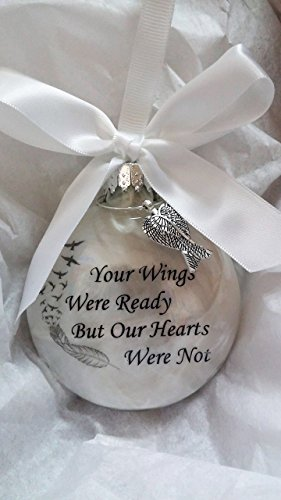 Your Wings Were Ready Memorial Christmas Ornament Sympathy Gift w/ Angel Wing Charm (Angel Wing Feather Ornaments)