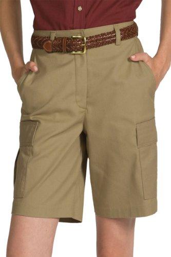 Edwards Garment Women's Casual Chino Flat Front Cargo Short_TAN_16