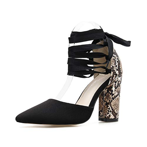 Stupmary Pointed Toe Women Pumps Snake Print Block Heel Ankle Strap Lace Up High Heels Black