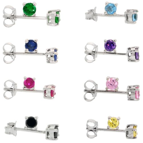8 Colors Set Sterling Silver CZ Stud Earrings 1/4 carats/pr Basket Setting Rhodium Finish Assorted Colors