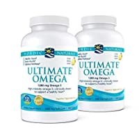 Nordic Naturals Ultimate Omega, Lemon Flavor - 1280 mg Omega-3 - 2 Pack - 360 Total Soft Gels - High-Potency Omega-3 Fish Oil with EPA & DHA - Promotes Brain & Heart Health - Non-GMO - 180 Servings