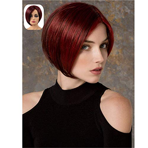 TopWigy Short Straight Bob Wigs Wine Red Side Part Colored Synthetic Hair Replacement Full Women - Wine Inch 8 Red