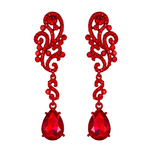 BriLove Wedding Bridal Dangle Earrings for Women Crystal Floral Scroll Chandelier Earrings Ruby Color ()