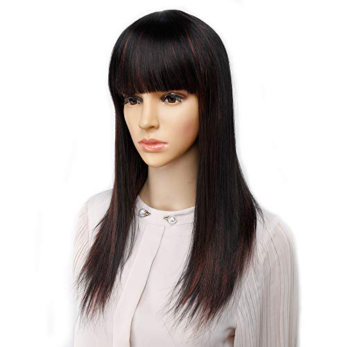 Synthetic Long Straight Hair full Wigs for Women Daily Costume Heat Resistant Fiber (1B 350)