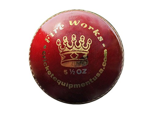 Red Leather Cricket Ball Fireworks by Cricket Equipment USA