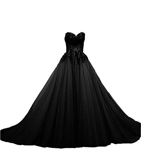 Brautkleider Damen O Vintage D Appliques W Hochzeitskleider A Frauen Lange Linie Gotisch Schwarz wFqf8