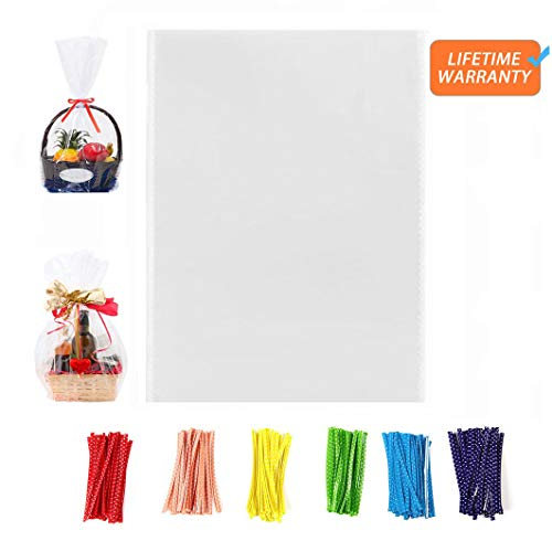 100 Pcs 13×16 Clear Flat Cello/Cellophane Treat Bags for Gift Wrapping, Bakery, Cookie, Candies, Dessert, Party Favors Packaging, with 3 Random Color Twist Ties!