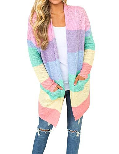Women Fashion Knitwear- Rainbow Striped- Large Pockets