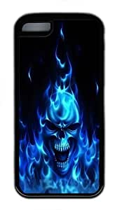 iPhone 5C Case and Cover - Blue Flaming Skull TPU Rubber Silicone Case for iPhone 5C Black