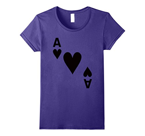 Casino Themed Costume Ideas (Womens Ace of Hearts Poker Playing Card Halloween Costume T-shirt Small Purple)