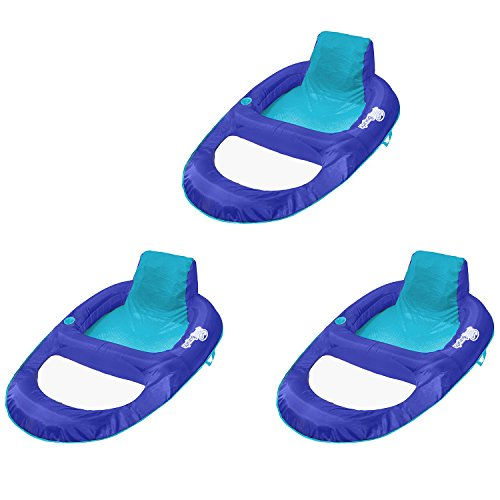 SwimWays Spring Float Recliner XL Floating Swimming Pool Lounge Chair (3 Pack) (Recliner Swimways)