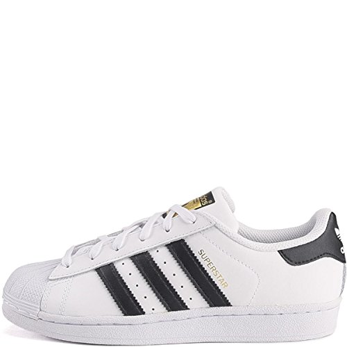 adidas Originals Superstar J Shoe (Big Kid), White/Black/White, 4 M US Big Kid