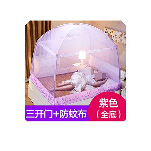 Romantic Purple Mosquito Net for Single Double Bed Adults Insect Repeller Tent Bedding Canopy Net for Kids Mesh Yurt Mosquito Net,Purple,1.5m (5 feet) Bed