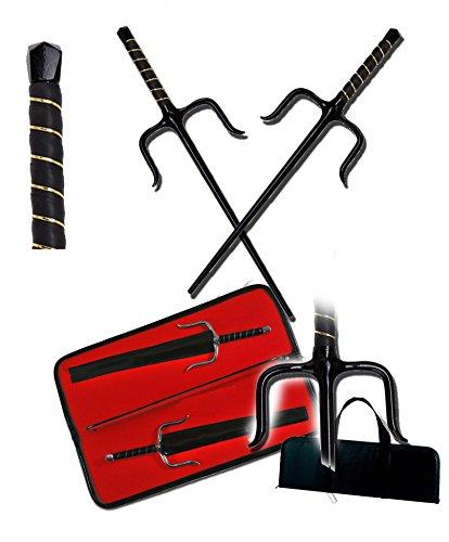 "NINJA TURTLE Sai 13"" Black Handle Karate Martial Arts Practice & Sai CASE"