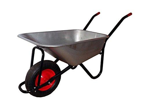 Schubkarre-Verzinkt-belastbar-bis-200-kg-Luftbereifung-mit-Stahlfelge-Gartenkarre-Transportkarre