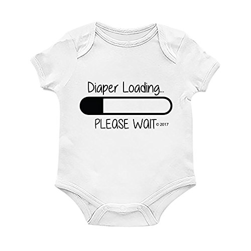 For Babyz Funny Baby Bodysuit Romper, Diaper Loading, Unisex Boy Girl, White