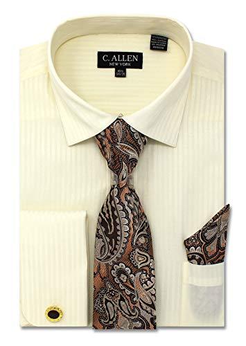 C. Allen Men's Solid Striped Pattern Regular Fit Dress Shirts with Tie Hanky Cufflinks Combo 22.5 Neck 37/38 Ivory