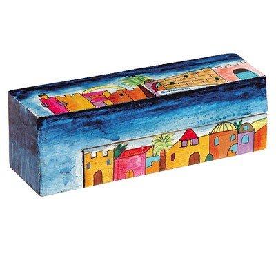 Yair Emanuel Wooden Travel Folding Hanukkah Menorah Jerusalem Vista Design (Travel Hanukkah Menorah)