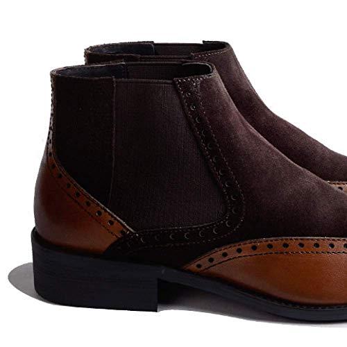 Caldi Autunno Business Brown E Casual Comfort Scarpe Chelsea da in Uomo Inverno NIUMT Pelle Retro tdRnzqt