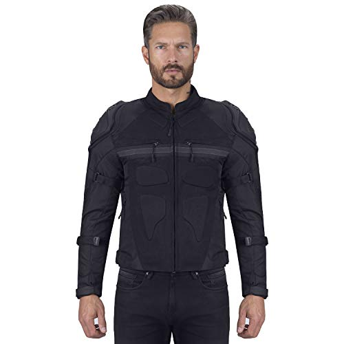 Viking Cycle Stealth Armored Textile Motorcycle Jacket For Men - Extra Protection,Waterproof and Breathable Mesh (XL)