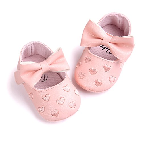 Royal Victory RVROVIC Baby Girls Shoes PU Soft Sole Bow Prewalker 0-18 Months (11cm (0-6months), Heart Pink)