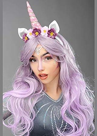 Struts Peluca y Cuerno de Lila mágica para Unicornio para Mujer