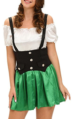 IF FEEL Women's Sexy Skeleton Halloween Costume Role Play Cosplay Sets (L, (Mad Hatter Inspired Outfit)