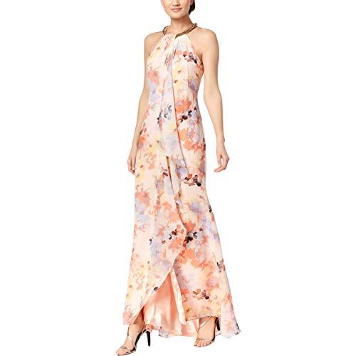 (Calvin Klein Women's Halter Neck Beaded Gown with Front Drape, Blush Multi, 4)
