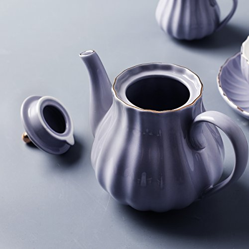 Porcelain Tea Sets British Royal Series, 8 OZ Cups& Saucer Service for 6, with Teapot Sugar Bowl Cream Pitcher Teaspoons and tea strainer for Tea/Coffee, Pukka Home (Milk Purple) by Pukka Home (Image #4)