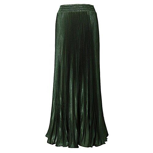 hibote Mujeres plisado de la falda De color verde oscuro