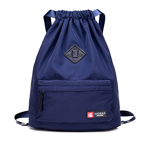 55a1054ae90a Risefit Drawstring Bags PE Bag with Front and Back Pocket, Waterproof Gym  Sack Daily Rucksack Book Bags with Large Capacity for Sports School Travel  ...