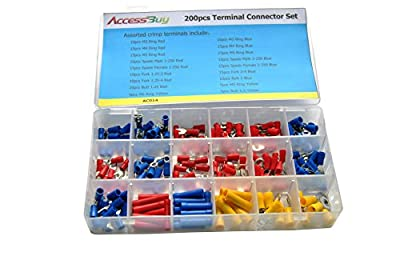 Accessbuy 200pcs Insulated Electrical Wire Connector Crimp Connectors Spade Ring Butt Terminal Set