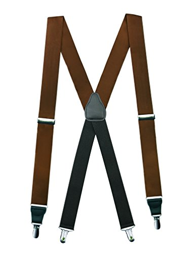 Hold'Em 100% Silk Suspenders For Men X - Back Fancy Solid Clip End Dress Suspender Made in USA – Many Colors and Designs Perfect for Tuxedo -Brown