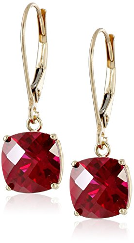 10k Yellow Gold Cushion-Cut Checkerboard Created Ruby Leverback Earrings (6mm) (Ruby Cushion Cut)