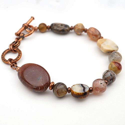 (Sunstone bracelet, earthtones semiprecious stone pastel brown beads, 7 1/2 inches long)
