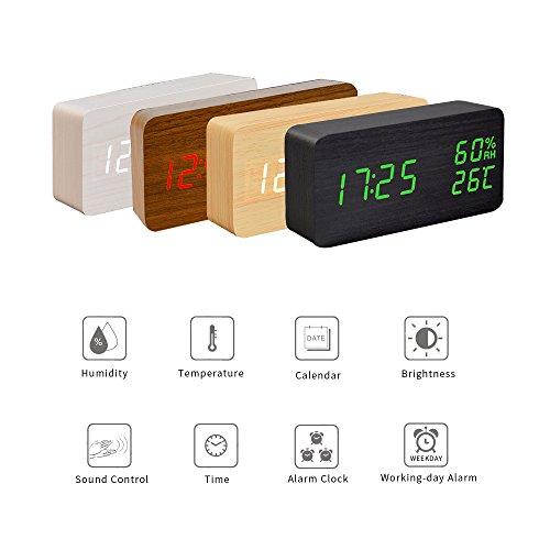 fibisonic horloge digitale réveil matin alarme horloge réveil led