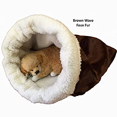 Pet Bed, Snuggle Den, Medium (up to a 20lb. pet), Brown Wave Faux Fur