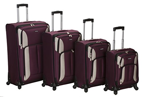 Rockland Luggage Impact Spinner 4 Piece Luggage Set, Burgundy, One Size (Luggage Piece Set 4)