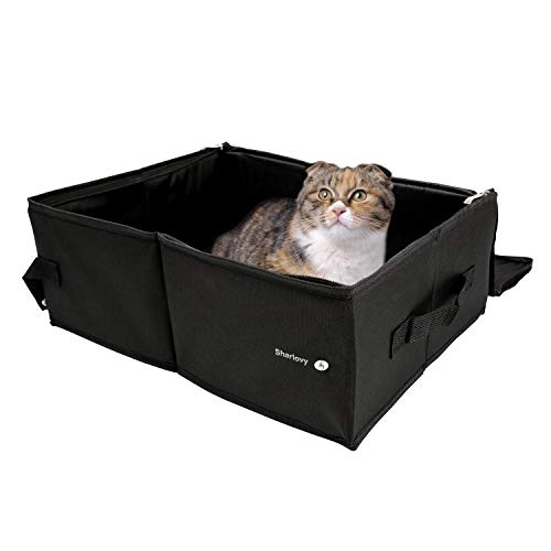Sharlovy Travel Litter Box for Cats, Cat Litter Box with Lid Collapsible and Portable Great for Cats Kittens, Foldable Waterproof Cat Bed for Travel Covered Cat Litter Box Black by Sharlovy