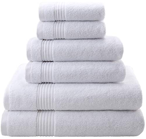 Premium, Luxury Hotel & Spa, Turkish Towel 100% Cotton 6-Piece Towel Set for Maximum Softness and Absorbency by American Veteran Towel (Snow White, 2019) (Best Bath Towels 2019)